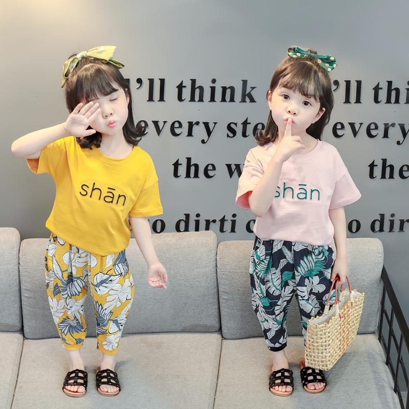 2021年新品夏款时髦纯色韩版女中小童时尚套装短袖短裤薄款童套装