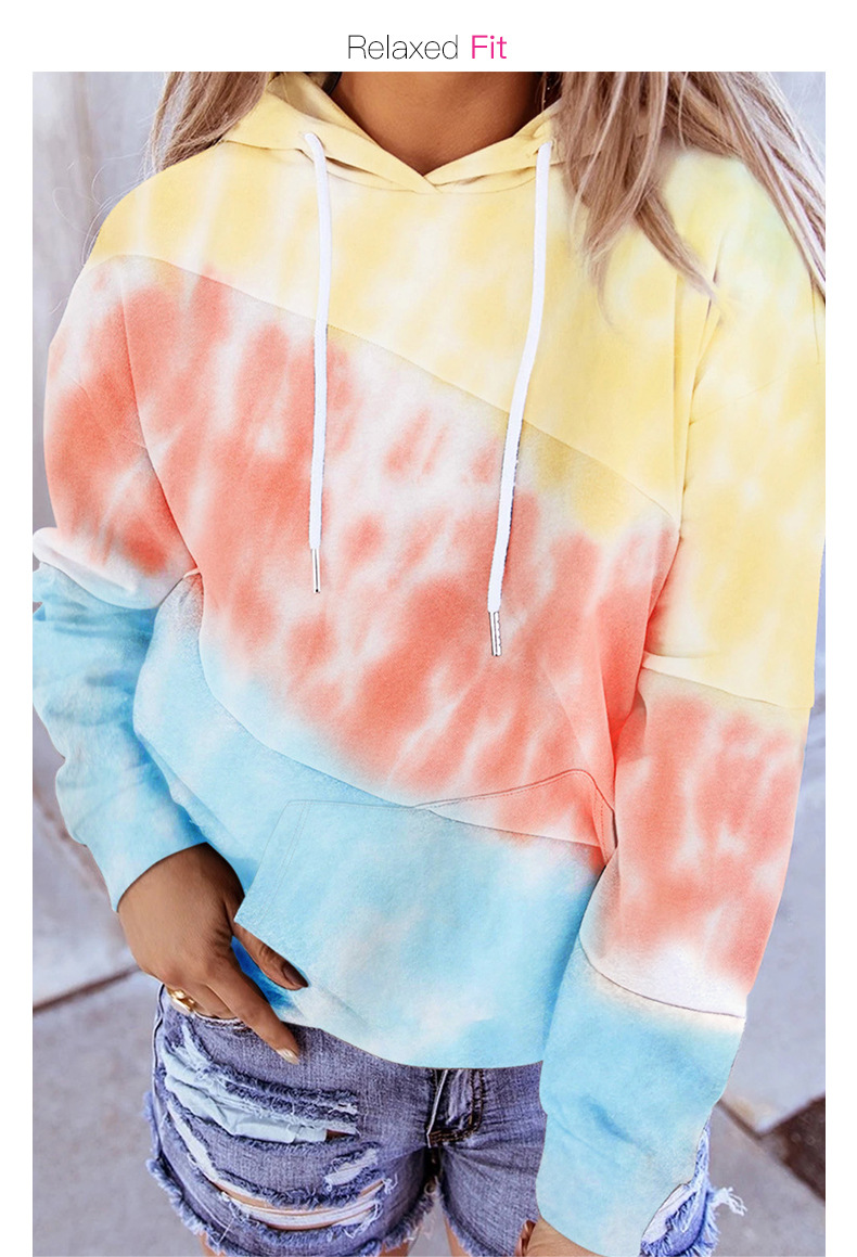 Women's Long Sleeve Autumn New Contrasting Hooded Street Style Pullover Sweater NSSI2366