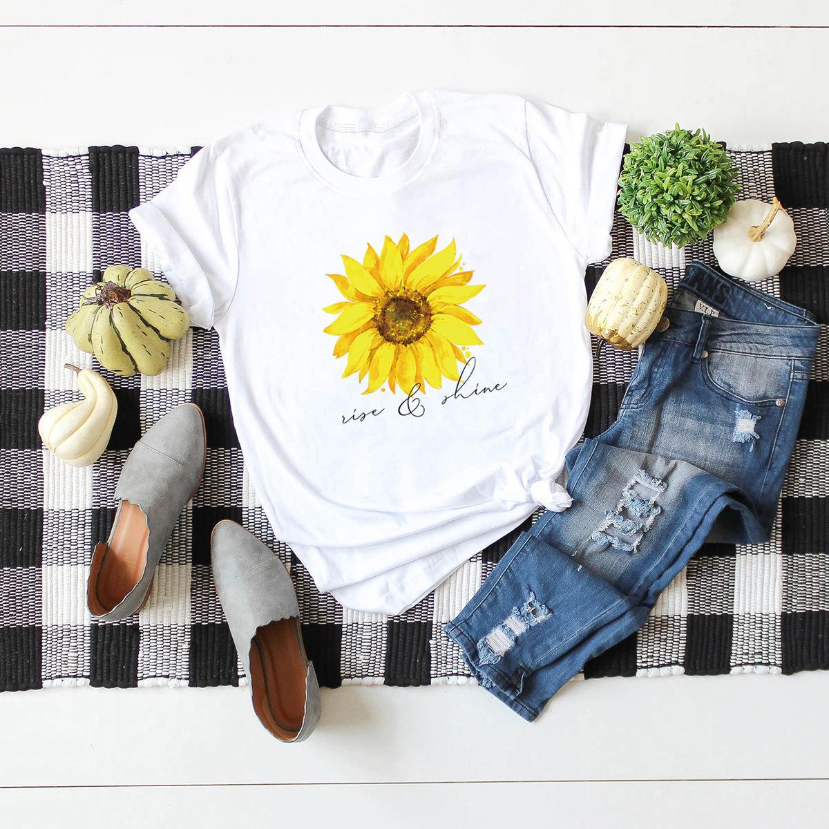 casual hot sunflower short-sleeved women's t-shirt NSSN1792