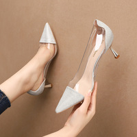 2020-7 han edition fashion pointed shallow mouth high-heeled shoes nightclub show thin transparent sexy sandals web celebrity heel shoes