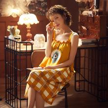夏季新款純棉睡衣女短袖吊帶睡裙卡通休閑可愛居家女士家居服套裝