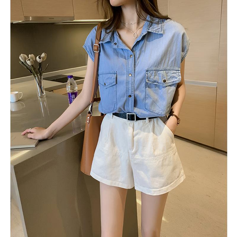夏装款时尚气质无袖牛仔衬衫女宽松上衣设计感小众衬衣打底衫潮