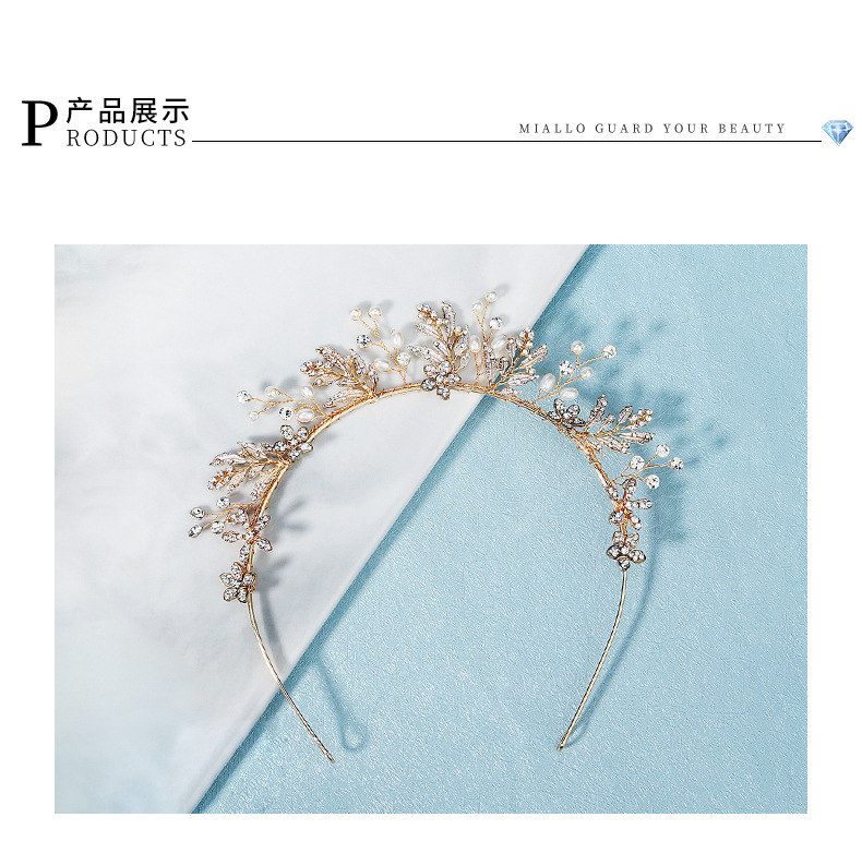 Creative wedding hand erected crown  dress  handmade flower pearl headband NHHS268004