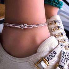 跨境配饰水钻脚链 闪钻蓝眼镜脚饰 夏季沙滩简约脚链几何形Anklet