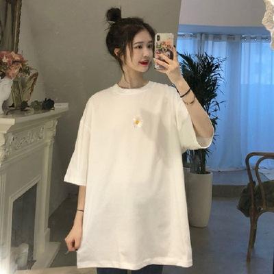 货源棉质2020夏季新款印花小雏菊短袖t恤女学生韩版宽松时尚上衣女批发