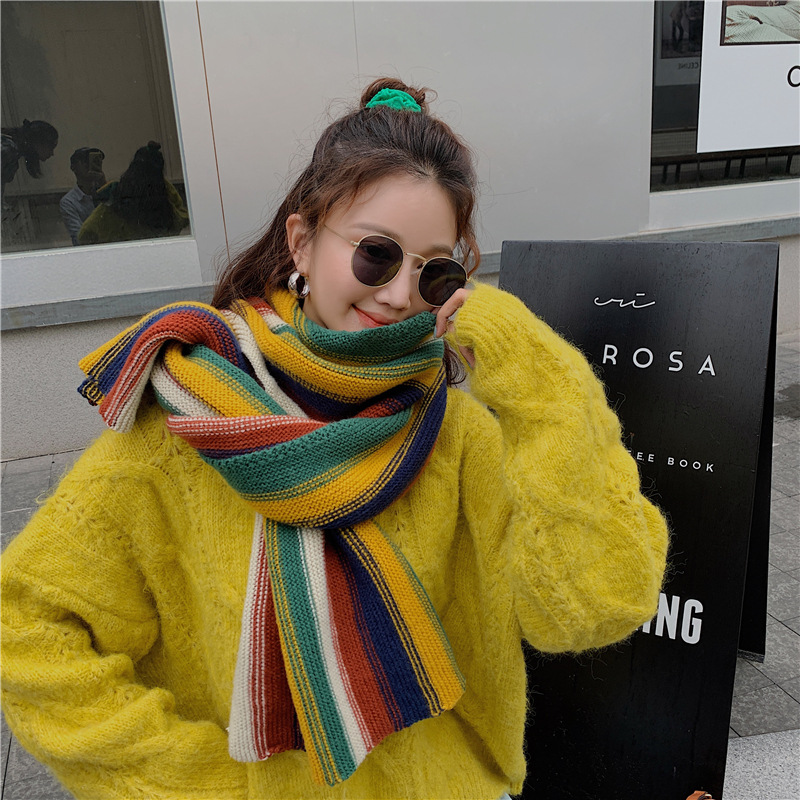 Colorful sweet wool knitted soft scarf NHCM282367