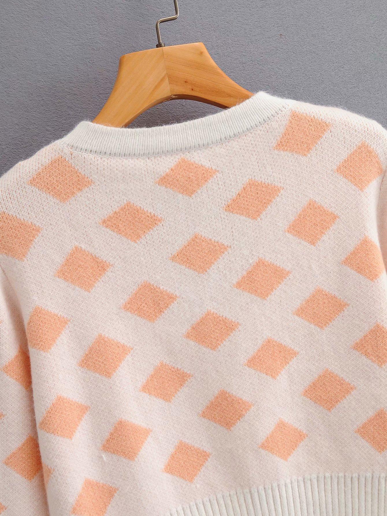 singlebreasted Vneck single piece longsleeved diamond pattern sweater coat wholesale nihaojewelry NHAM234736