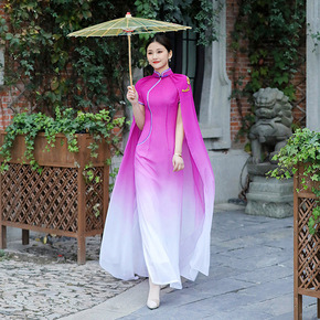 Catwalk cheongsam long shawl stage costume large size retro Chinese cheongsam