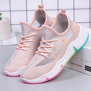 Shoes women 2021 rainbow bottom old shoes women ins tide flying woven sports shoes mesh breathable casual coconut shoes women