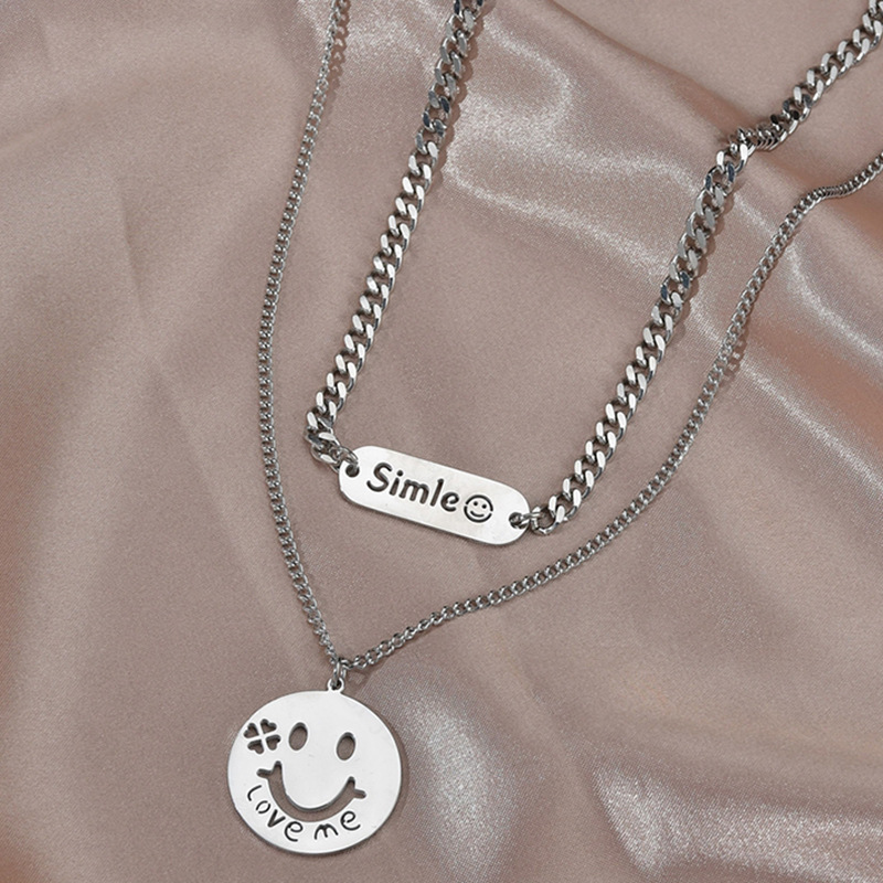 Hot sale Double Hip Hop style Smiley Double Round Brand Titanium Steel Jewelry Pendant Clavicle Chain NHHF244328