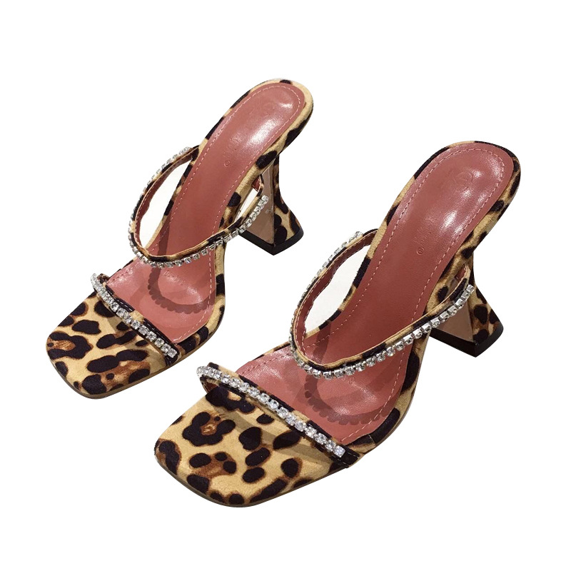 New women's shoes leopard sexy rhinestone open toe high heel wine glasses slippers wholesale NHSO197439