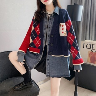 Xiaoxiangfeng denim stitching sweater jacket female Korean version loose lazy autumn and winter 2021 new outer wear female cardigan