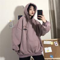 Ins super fire куртка 2020 осенне-зимняя женская одежда плюс бархатный свитер похоронная одежда корейская свободная толстовка с длинными рукавами