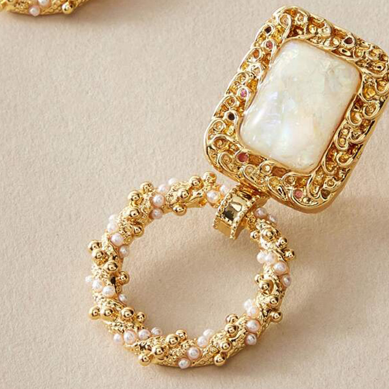 New fashion retro palace style square resin earrings geometric round inlaid pearl earrings NHNZ211514