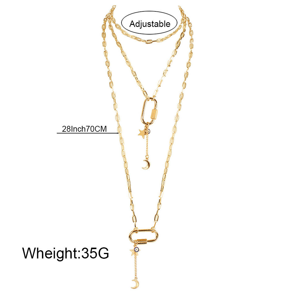 Fashion oval  long multi-layer star moon pendant necklace for women NHCT245675