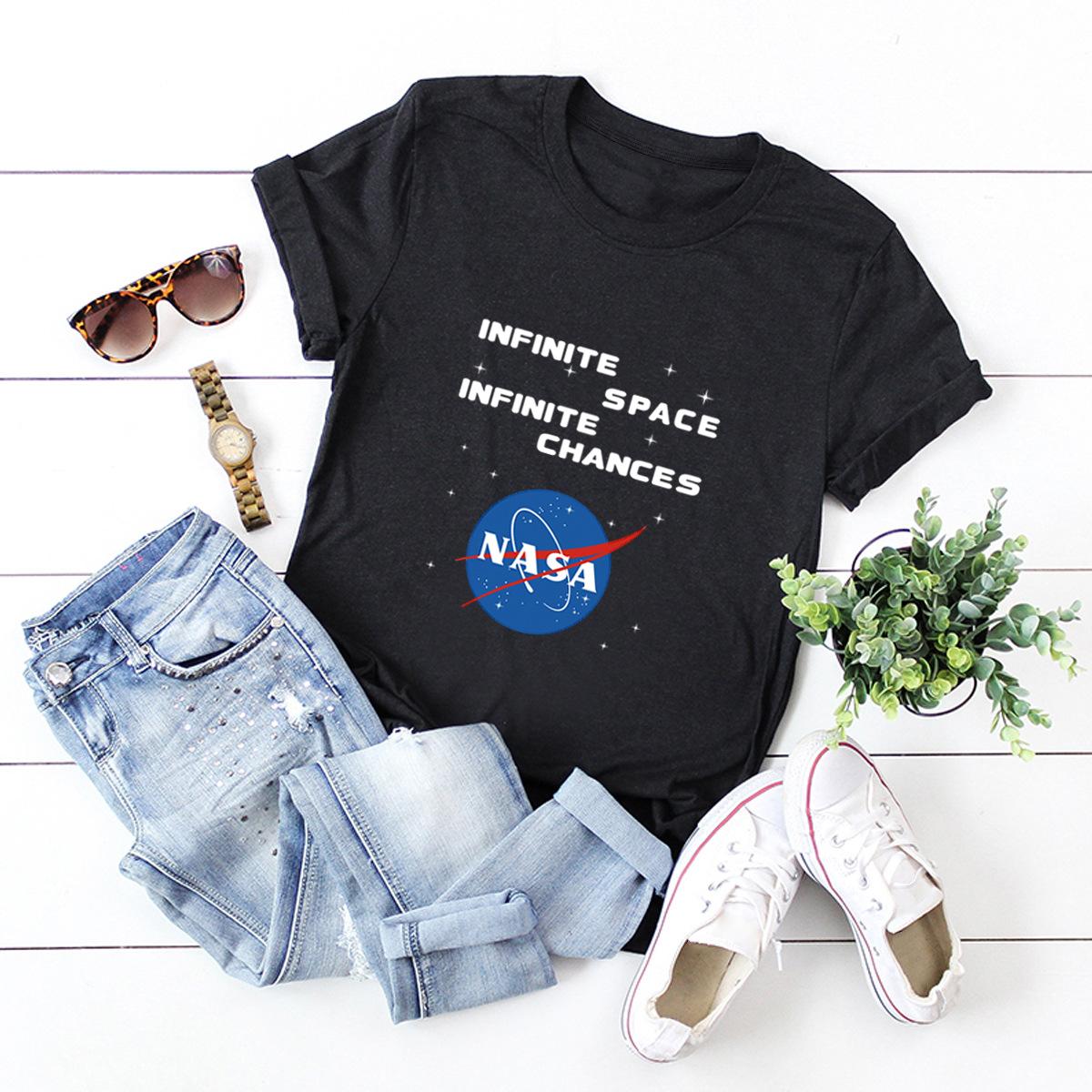 comfortable short-sleeved T-shirt dark nasa space series NSSN1446