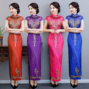 Lace skirt long cheongsam Chinese banquet dress retro long cheongsam show cheongsam large size