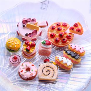 Simulation Strawberry Bread Birthday Cake DIY Cream Glue Phone Case Beauty Handmade Material Resin Jewelry Accessories