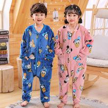 秋冬季兒童法蘭絨睡衣男童女童寶寶防踢卡通加厚珊瑚絨連體家居服
