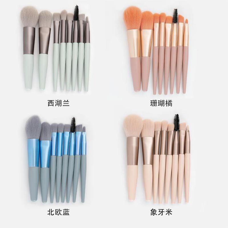 8支迷你化妆刷套装便携哑光软毛眼影刷初学者全套跨境美妆工具