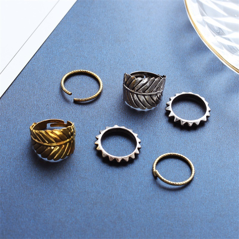 Korean fashion jewelry retro leaf decoration ring three piece set NHDP202837
