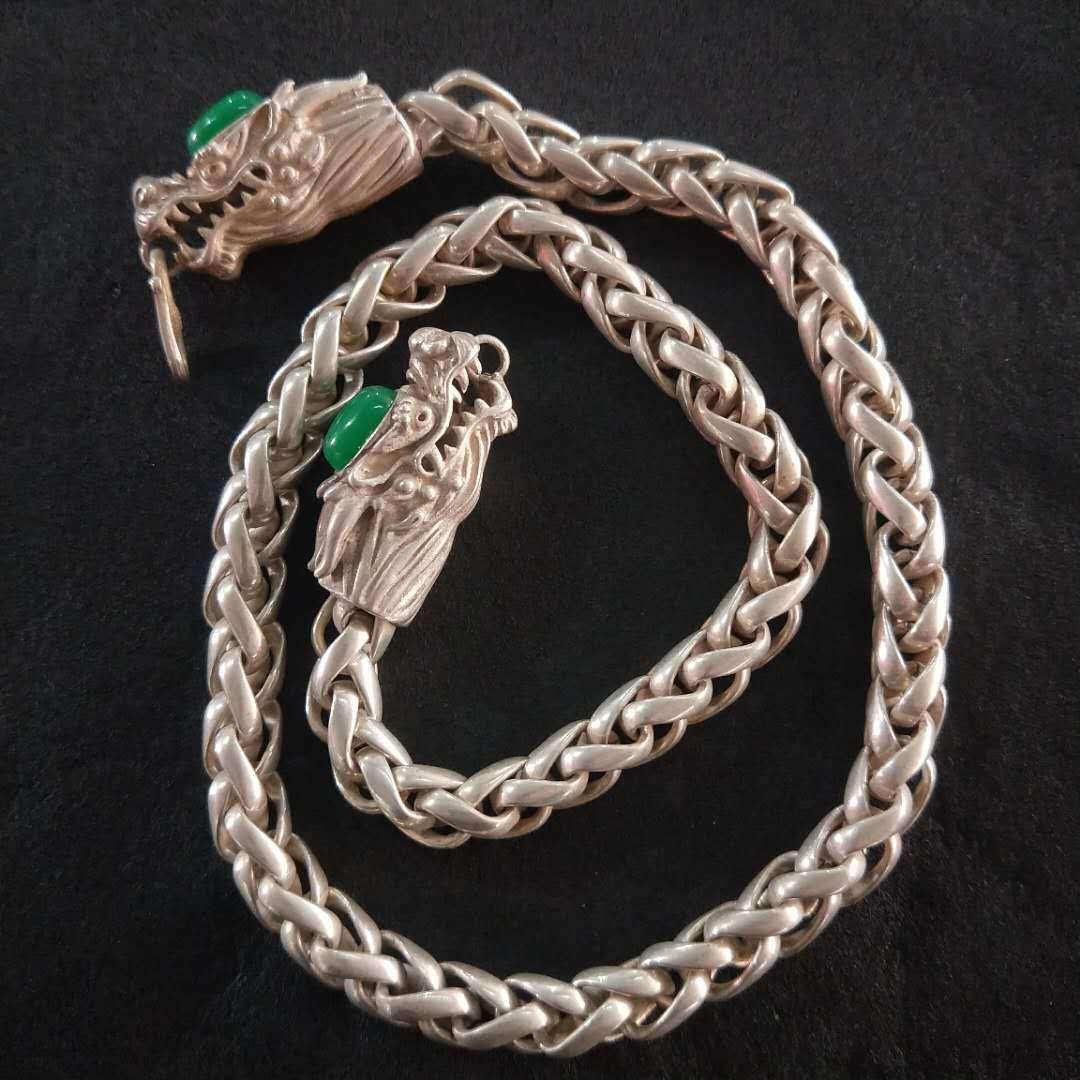 民族风复古白铜镀银毛衣链饰品藏银龙头镶嵌宝石长项链