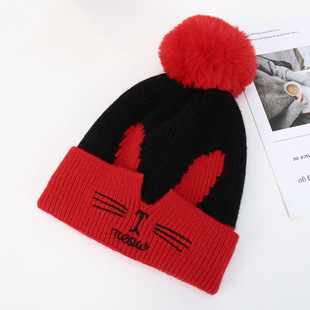 Plush woolen hat ladies Korean cute embroidery cat face knitted hat autumn and winter thickening warmth big hair ball hat