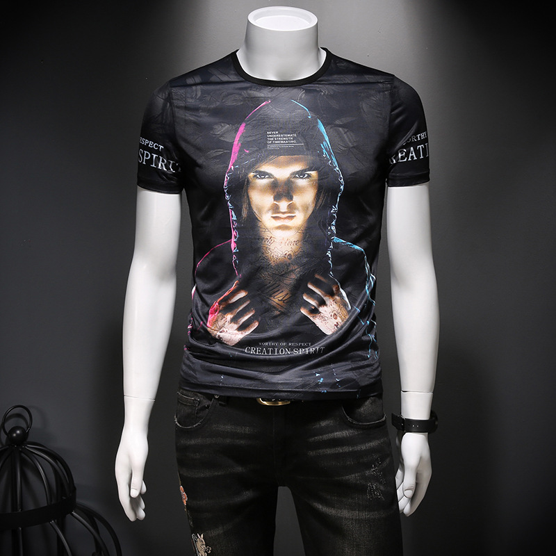 Summer new men's comfortable Tencel hollow and breathable large printed short sleeve T-shirt slim casual top