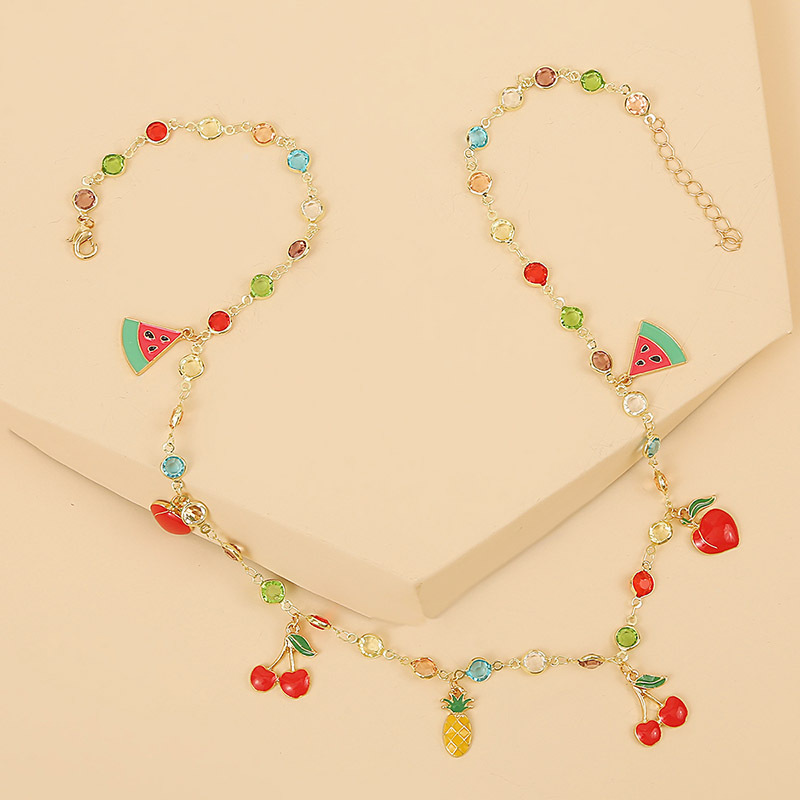 new simple temperament color dripping fruit necklace fashion trend watermelon cherry pendant jewelry wholesale nihaojewelry NHLA221330