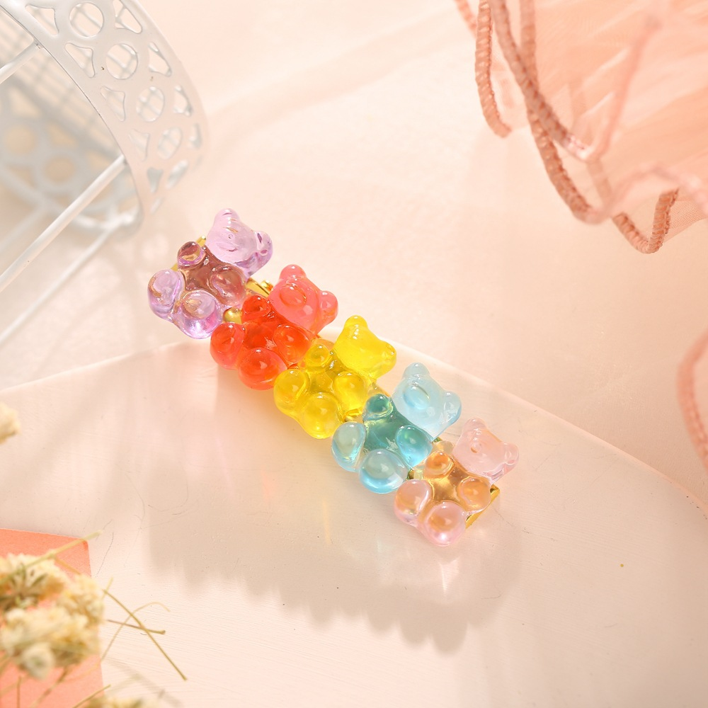 New jelly bear candy color hairpin creative retro simple cheap hairpin NHPJ208906