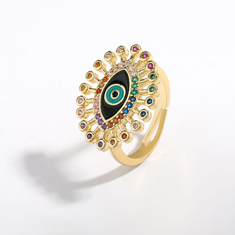 New oil drop eyes copper micro inlaid color zircon ring wholesale NHJE206551