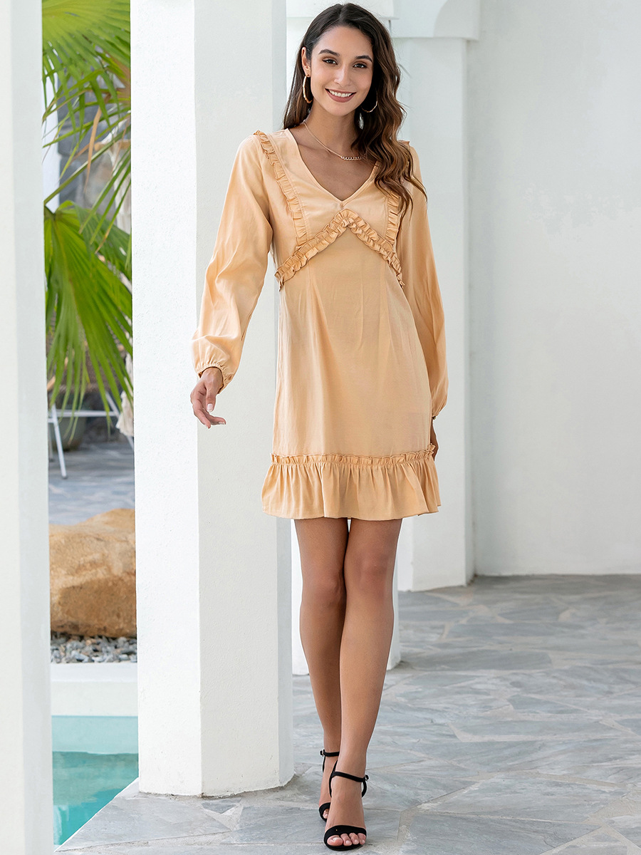 Pure Color V-neck Puff Sleeve Sweet Dress NSAL1971