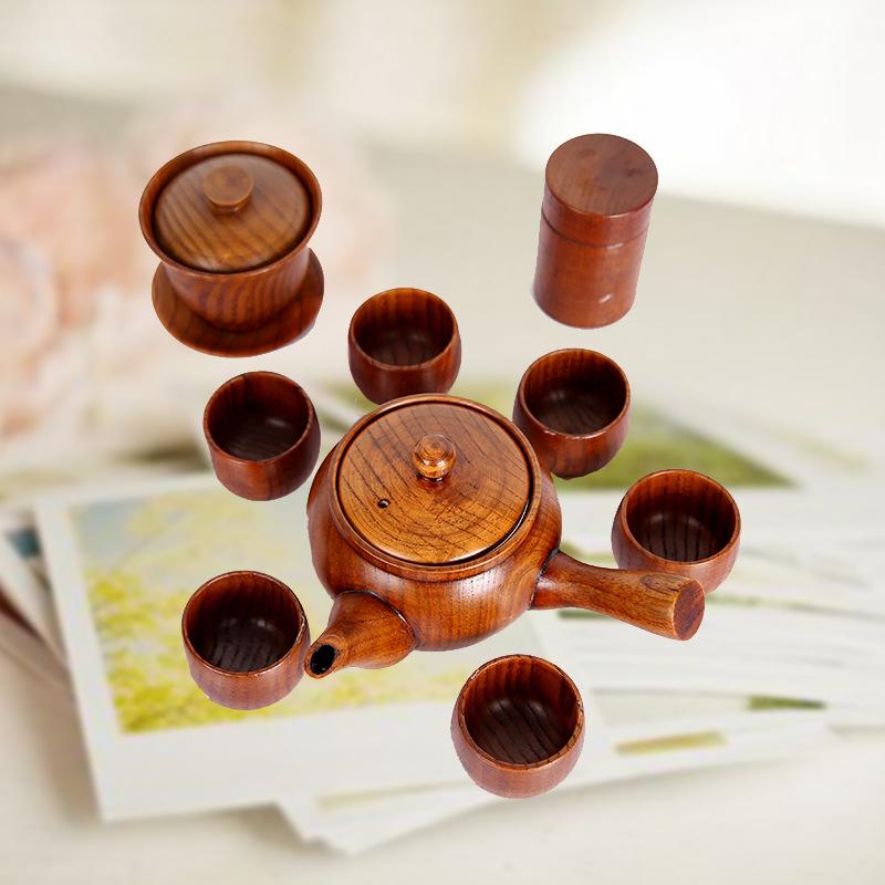梨木工艺木杯茶壶茶叶罐茶海紫砂茶具电磁炉茶具套装批发