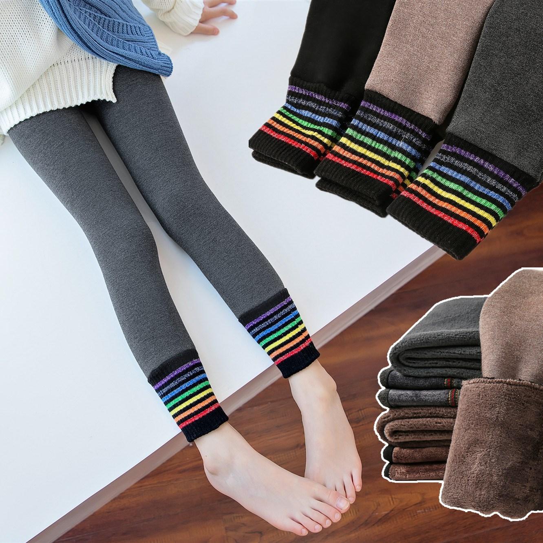 女童打底裤冬季新款一体绒加绒加厚棉裤儿童女宝宝彩虹保暖长裤子