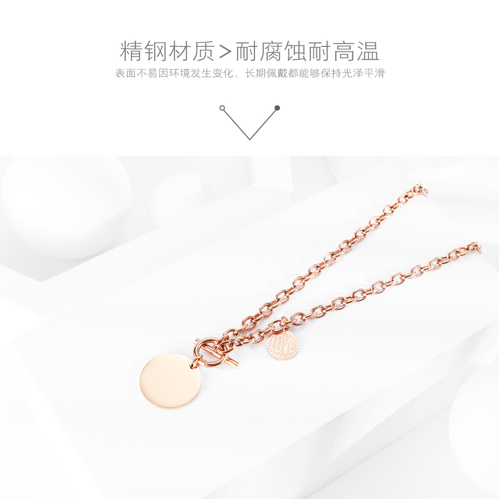 Korean new popular LOVE round pendant clavicle chain T-shaped buckle stainless steel necklace wholesale NHOP210771