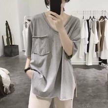 開叉t恤女式夏季寬松顯瘦口袋簡約韓版卷邊前短后長短袖v領棉上衣