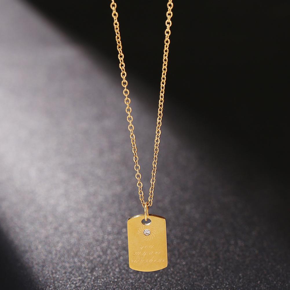 Korean stainless steel jewelry English alphabet gold square pendant titanium steel rose gold necklace NHJJ206729