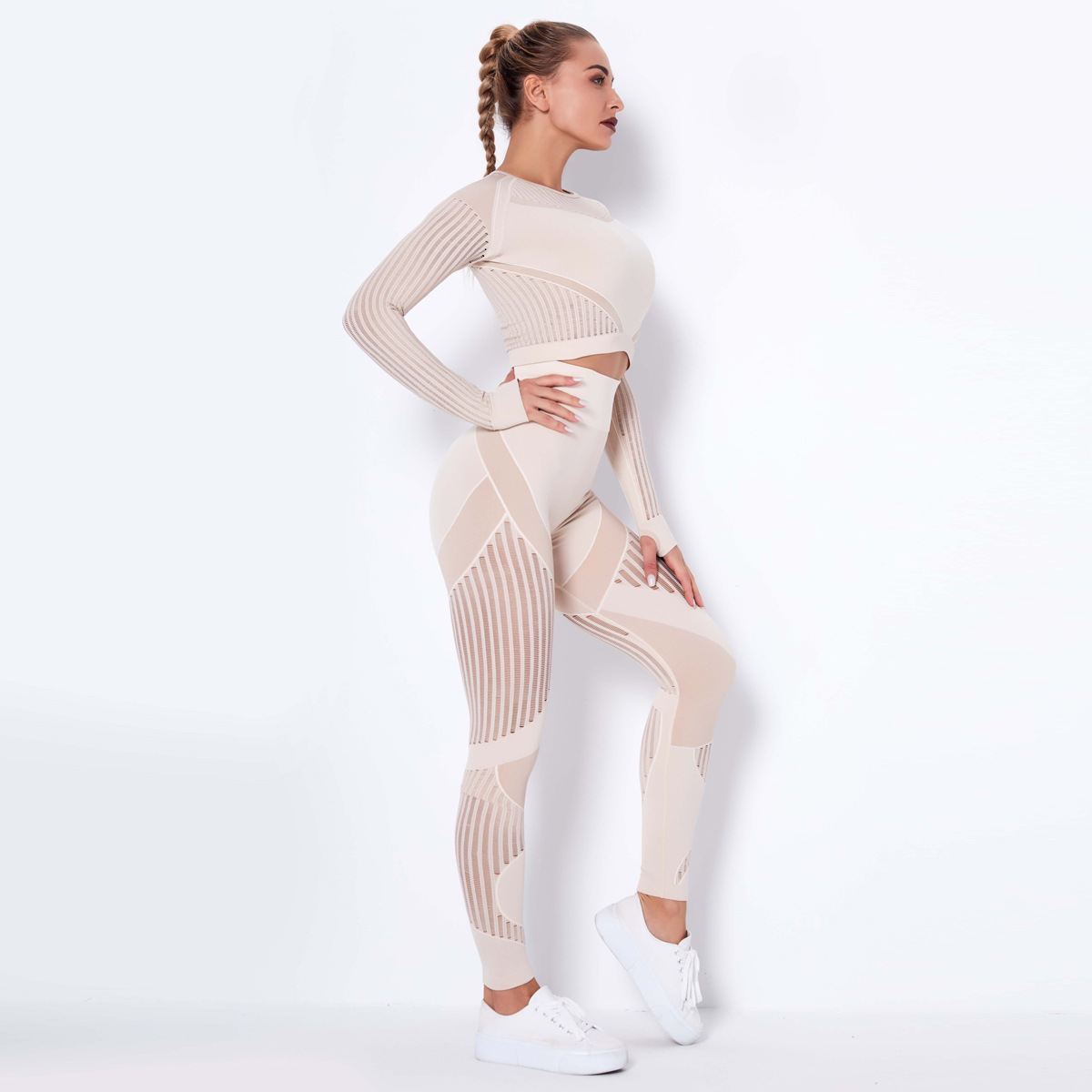 Seamless Mesh Quick-drying Long Sleeve Striped Yoga Suit NSNS10714