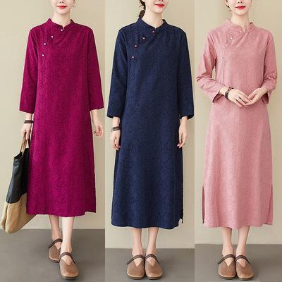 Women chinese qipao dresses Literary loose cotton linen jacquard stand collar long sleeve cheongsam dress women's mid-length