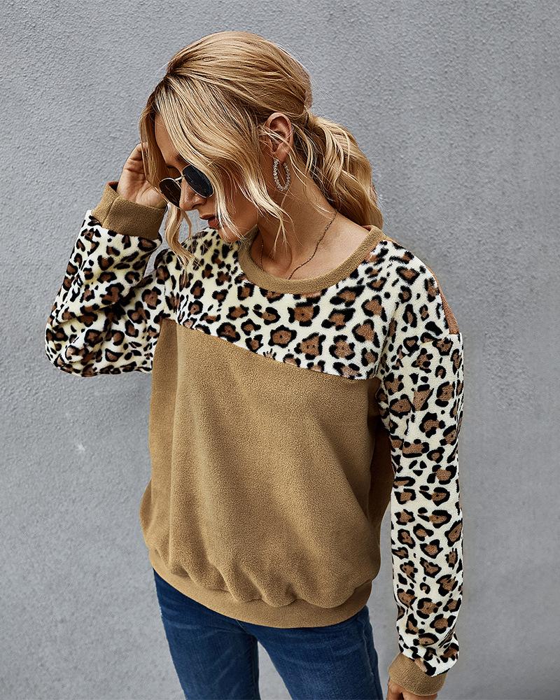 winter fleece sweater sexy leopard print contrast long-sleeved T-shirt  NSKA296