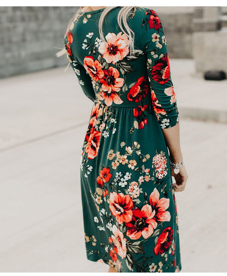 autumn and winter new slim floral high waist long sleeve v-neck dress  NSSI2449
