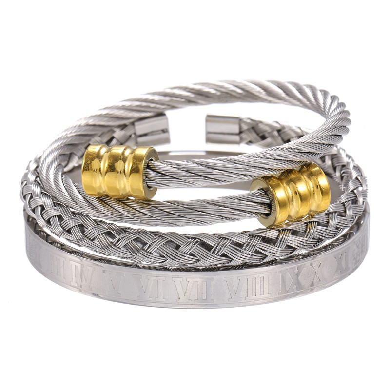 Titanium steel bracelet set punk style creative personality Roman alphabet opening multicolor stainless steel bracelet  wholesale nihaojewelry NHZU221386