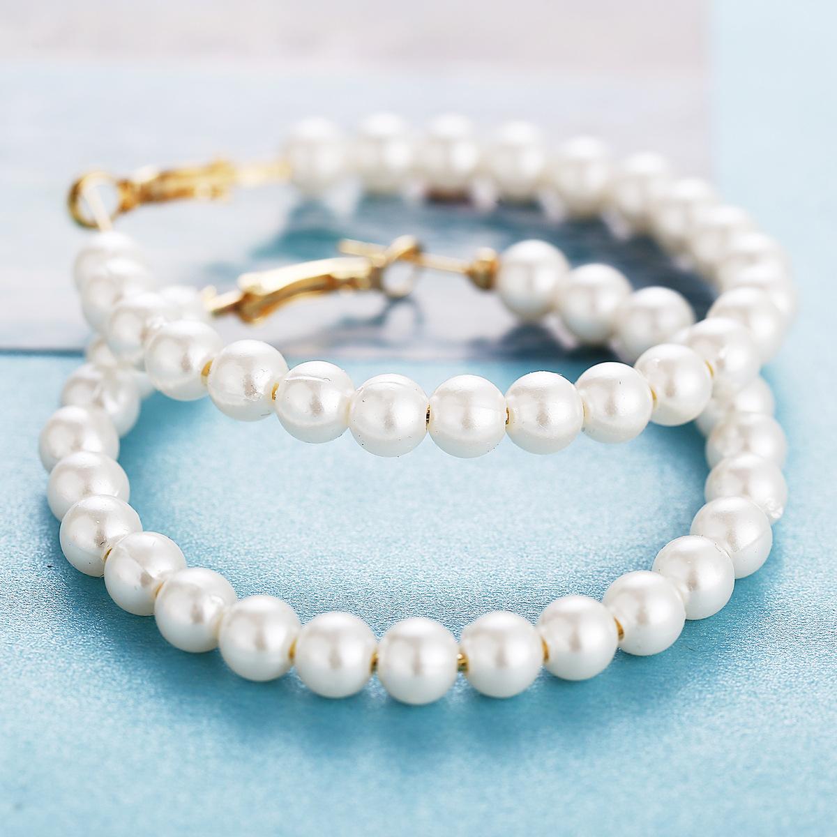 fashion explosion models white full pearl earrings new creative retro simple earrings wholesale nihaojewelry NHYI220231