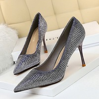 998-6 han edition fashion metal with high heel with shallow pointed mouth shining diamond sexy show thin single party shoes