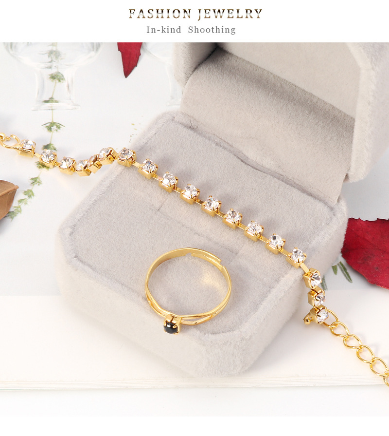 new fashion three-piece copper earrings necklace jewelry set wholesale  NHDR246243
