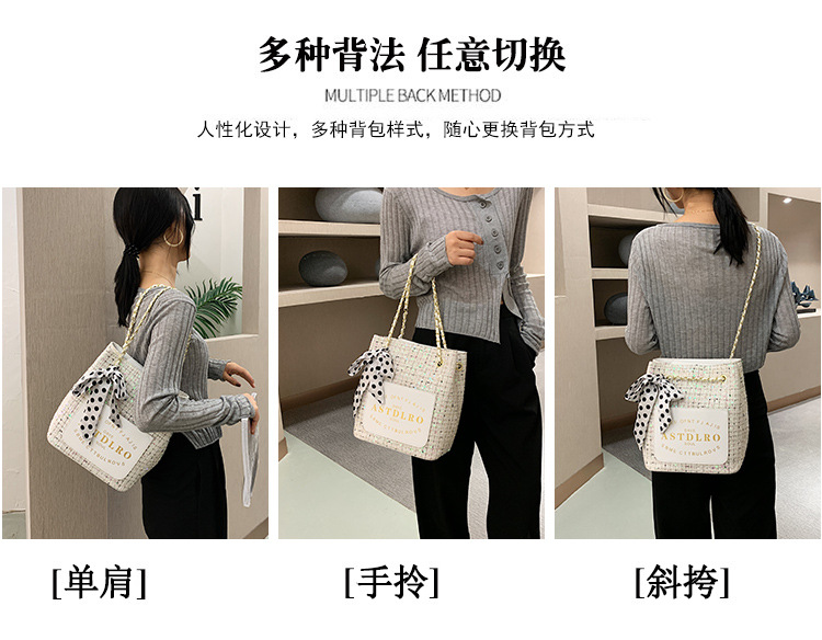 Large-capacity women's popular fashion all-match shoulder bag sequins messenger bucket handbag wholesale NHTC249265