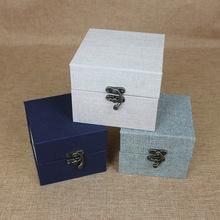 茶杯中国风棉麻铜扣盒子玉器茶壶古董琉璃礼盒定制娃娃头礼盒锦盒