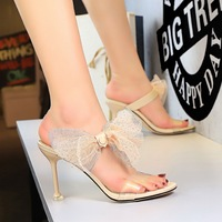 Han edition elegant female slippers summer 1688-1 fine with high heels peep-toe one word with lace bowknot female cool slippers
