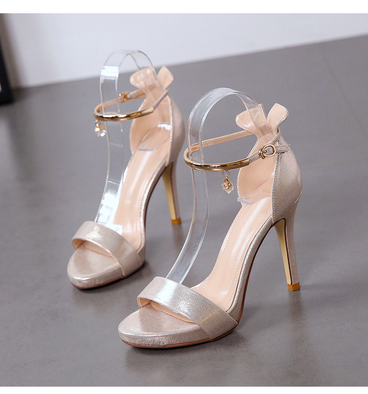 Summer new word with rhinestone sandals stiletto high-heeled open toe suede women's shoes NHSO200244