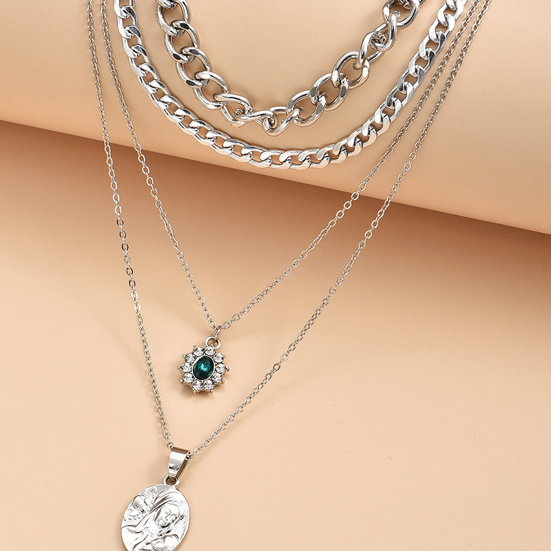 multi-layer unique shape fashion ladies new alloy necklace  NHAJ249783